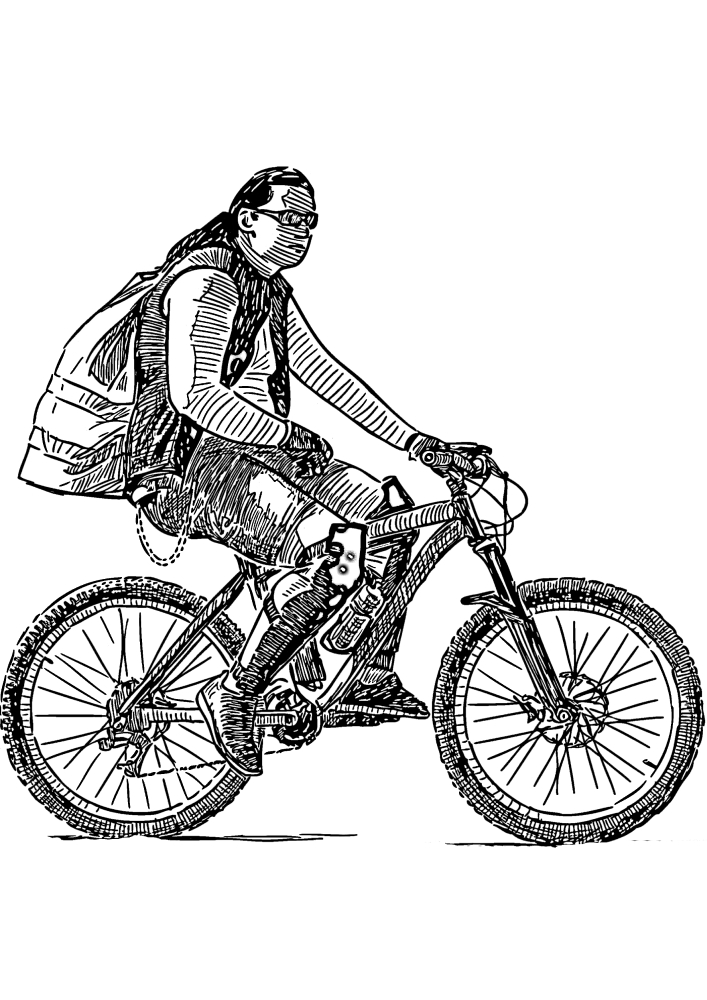 Мужчина на горном велосипеде.