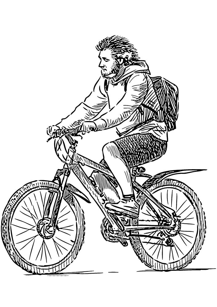 Реалистичная раскраска велосипедиста