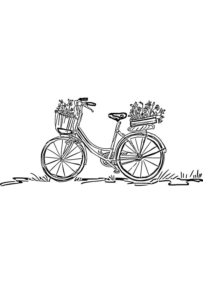 Милое изображение велосипеда с цветами