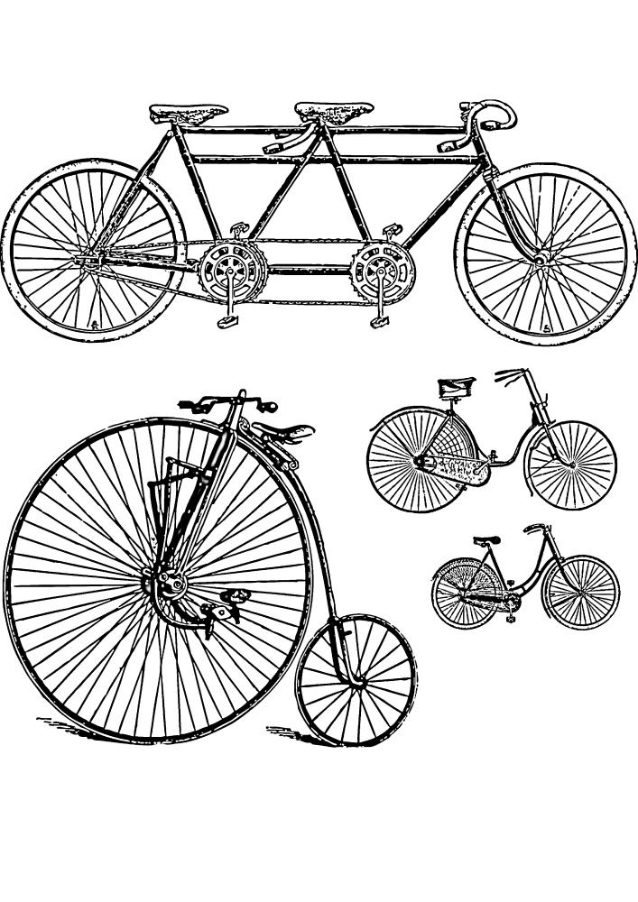 Разные виды велосипедов - первые прототипы 19 века.