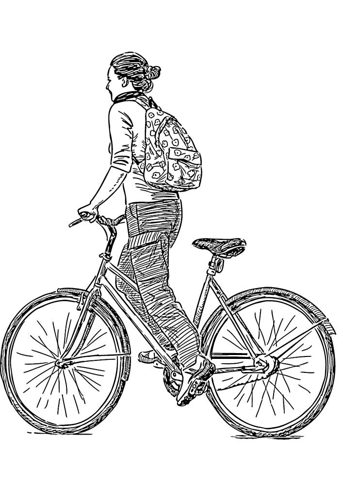 Девушка на велосипеде - реалистичная раскраска