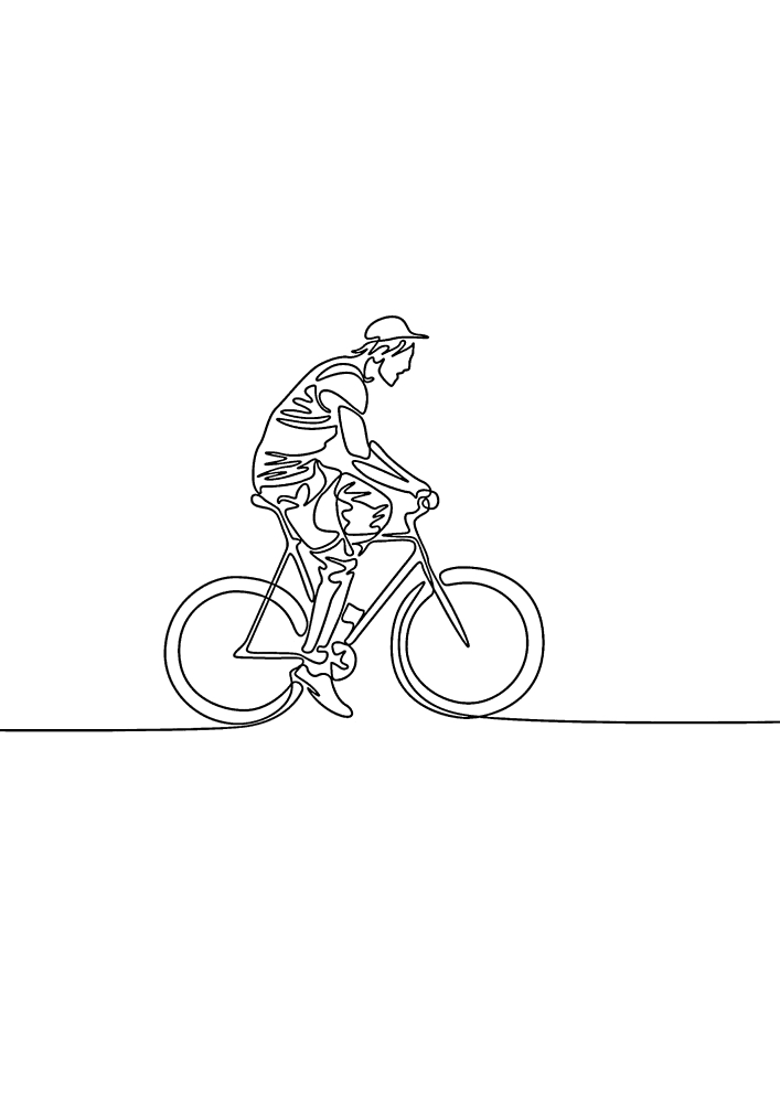 Мужчина на велосипеде - лёгкая раскраска для малышей