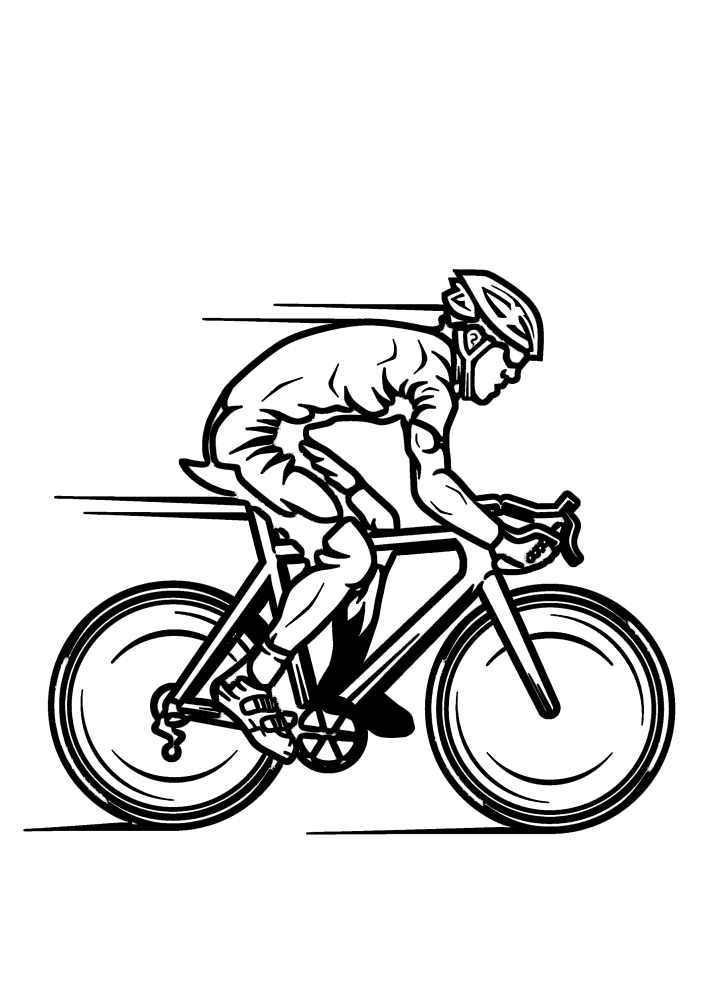 Гонщик едет быстро на гоночном велосипеде - раскраска