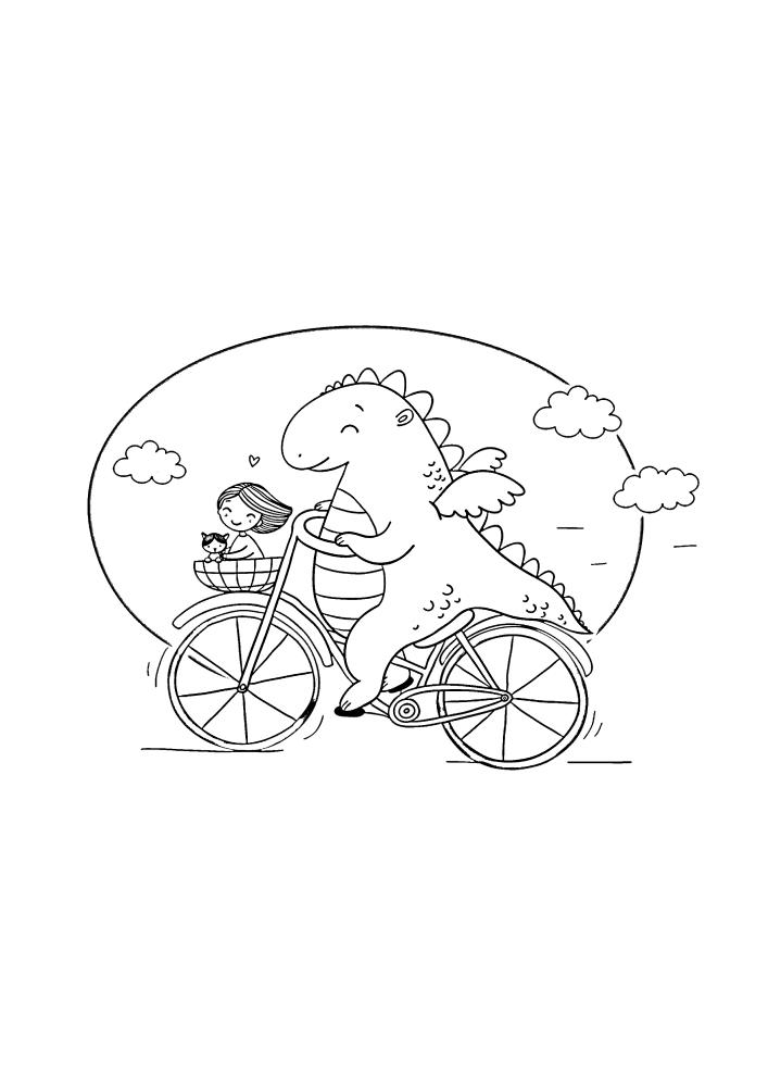 Милый динозаврик везет девочку домой