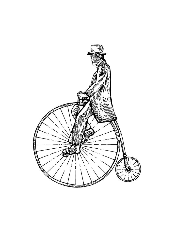 Какое же большое колесо у этого старинного велосипеда!