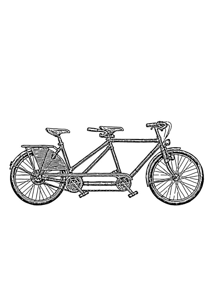 Длинный двухместный велосипед - раскраска