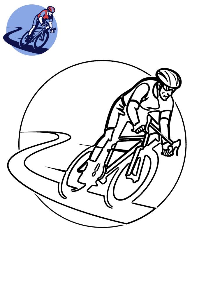 Спортсмен на велосипеде - раскраска с образцом разукрашивания