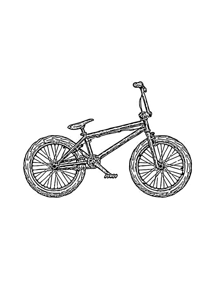Велосипед для трюков - БМХ - раскраска