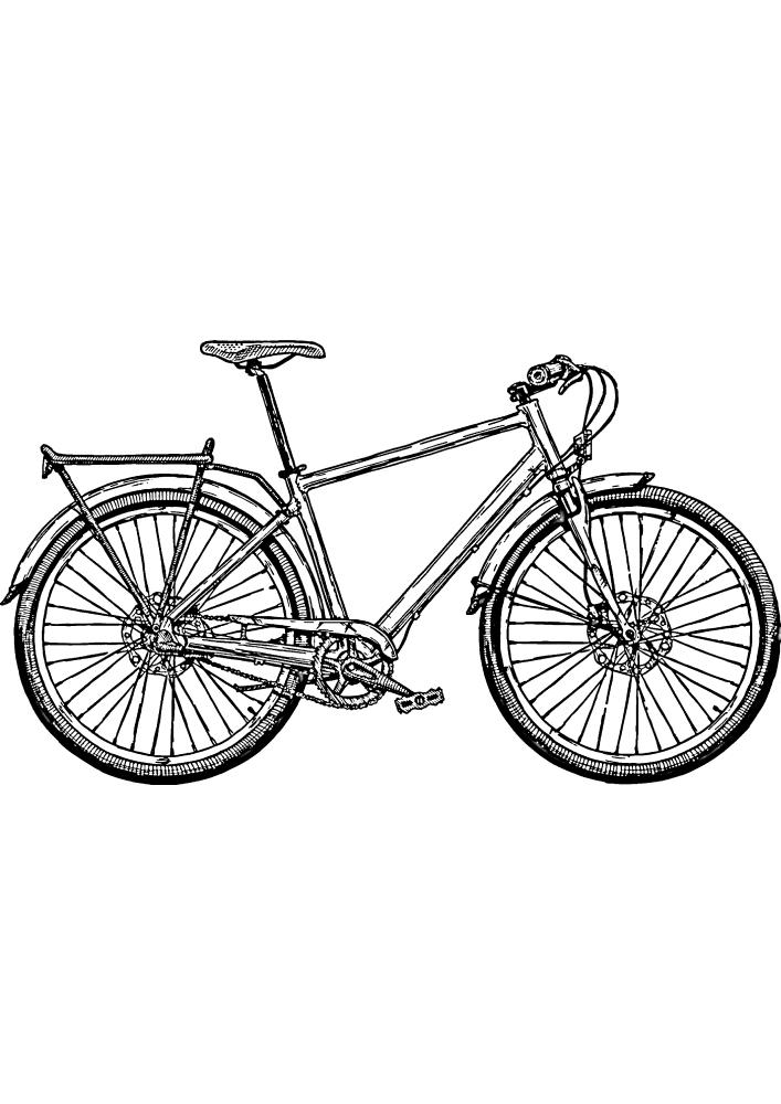 Велосипед с багажником - раскраска