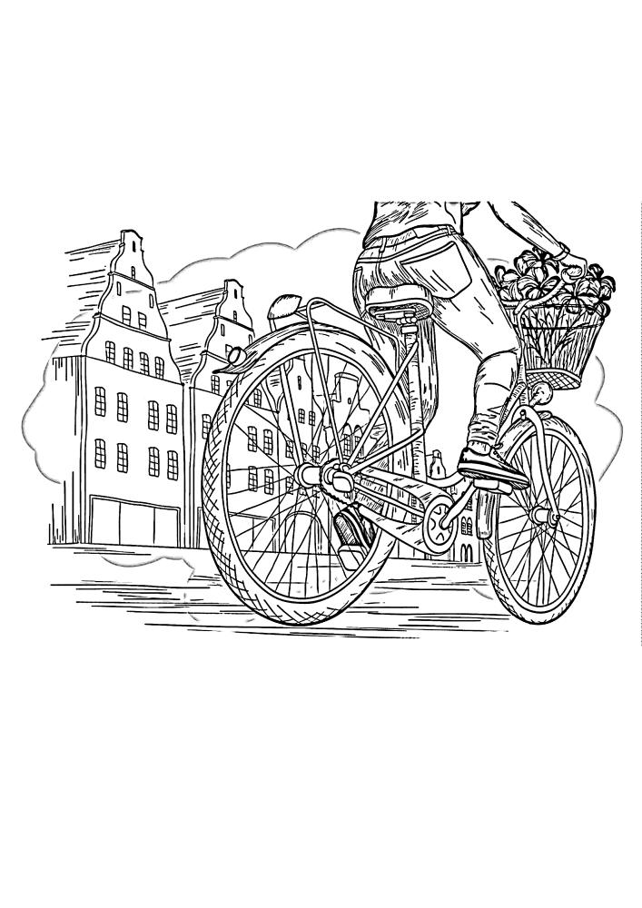 Детализированная раскраска велосипеда