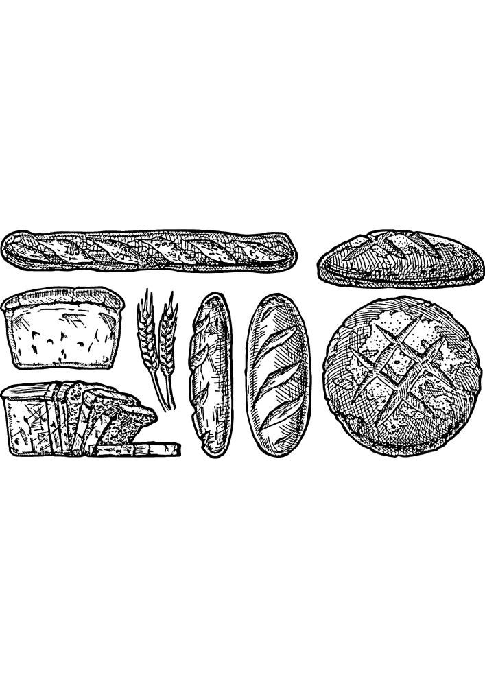 Разные хлебобулочные изделия - раскраска