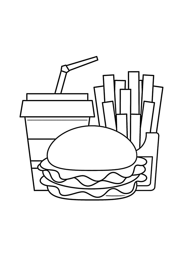 Бургер, картошка фри и напиток