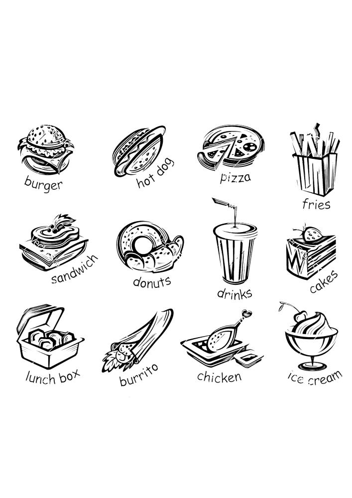 Еда с подписями