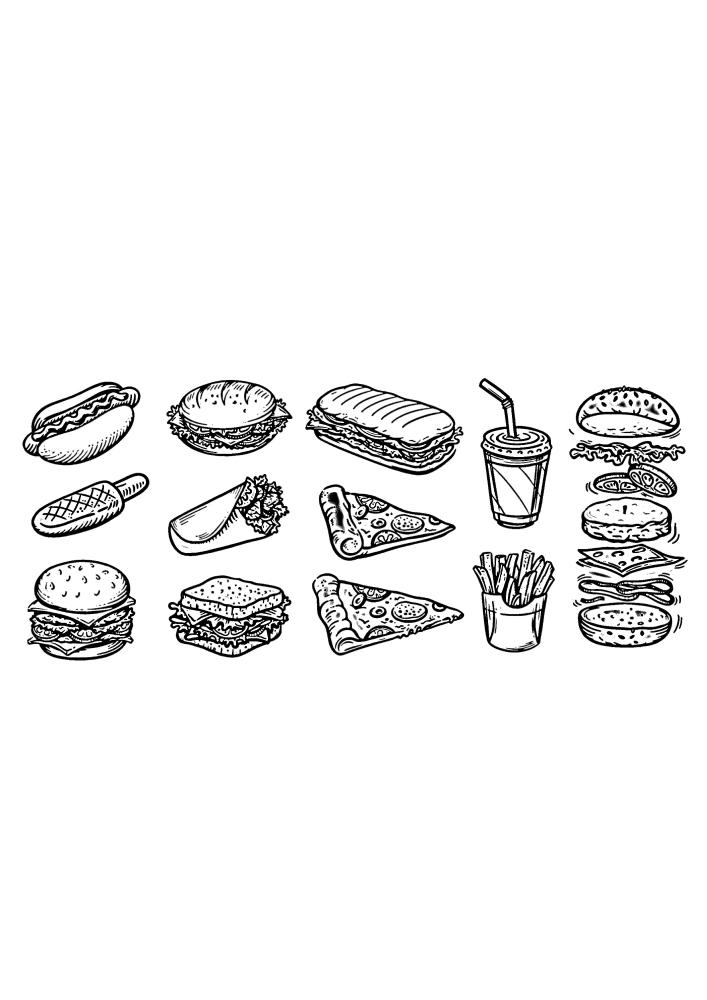 Еда - раскраска