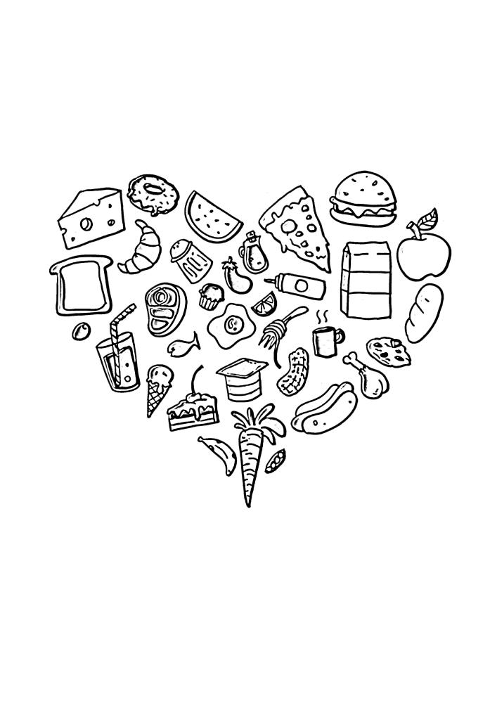 Сердце из еды