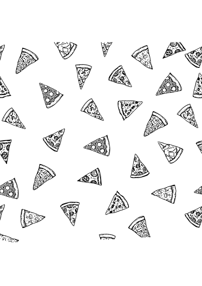 Куски пицц - раскраска для расслабления
