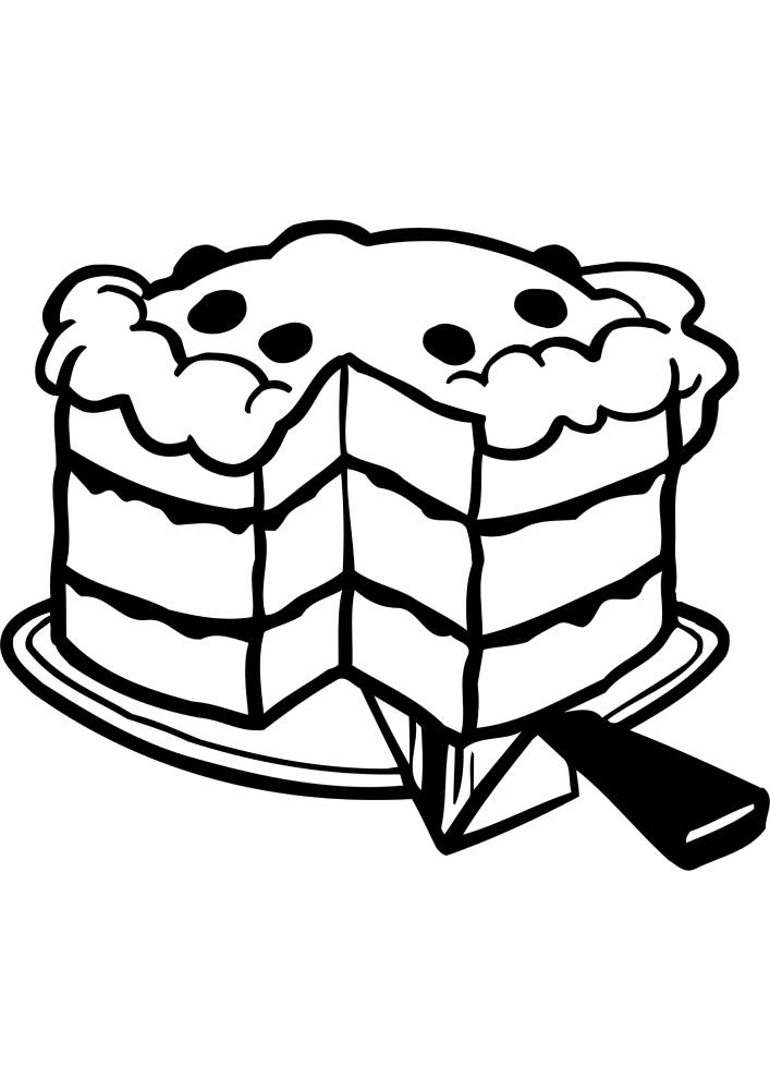 Вкусный торт - раскраска