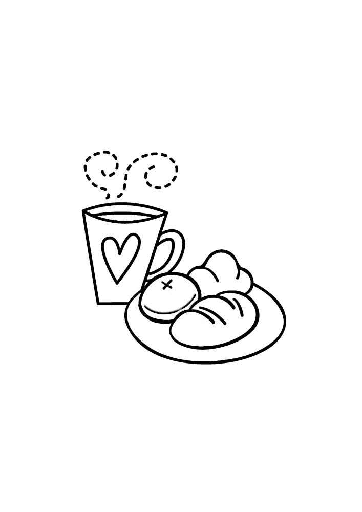 Завтрак с тёплым чаем и сладостями