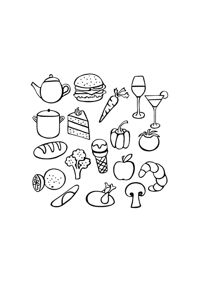 Иконки еды - раскраска