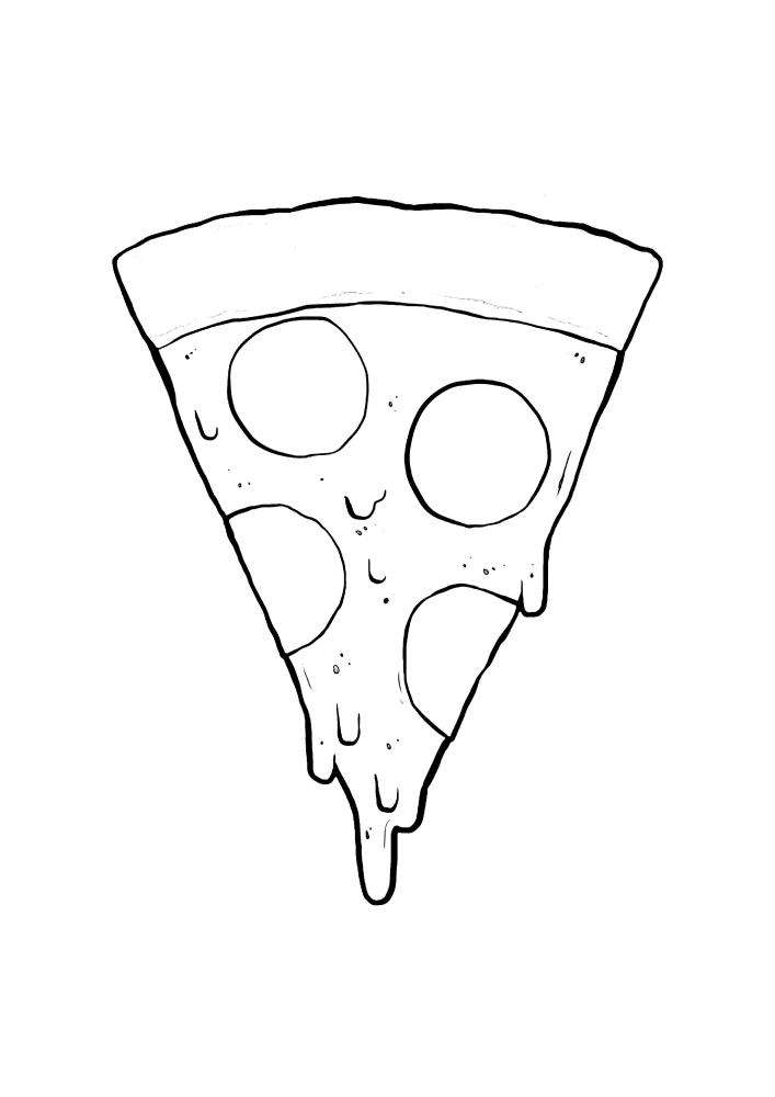 Кусок пиццы - раскраска