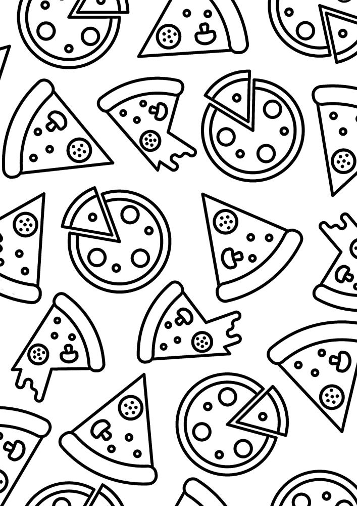 Большое количество разных пицц - расслабляющая раскраска