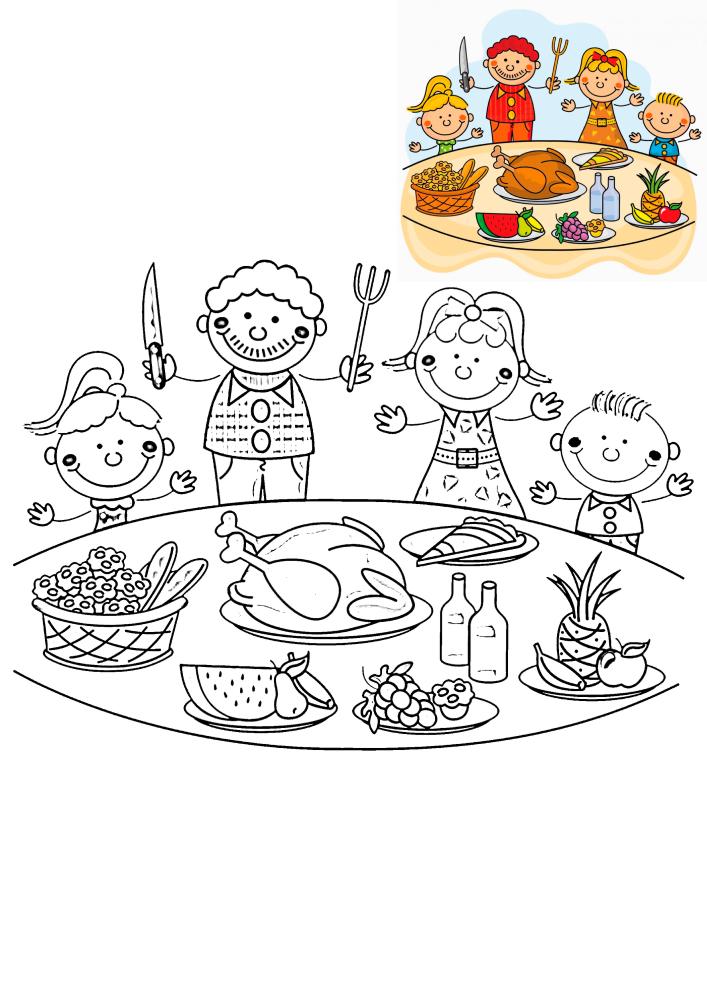 Семья готовится к ужину - раскраска с образцом разукрашивания