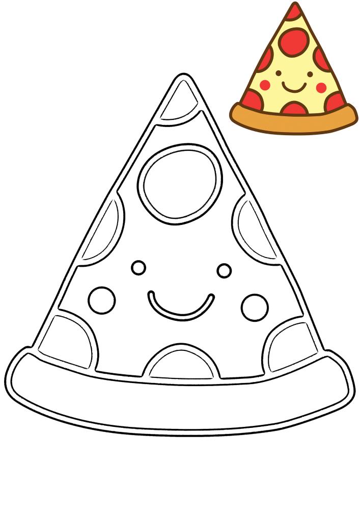 Милая пицца - раскраска с образцом разукрашивания
