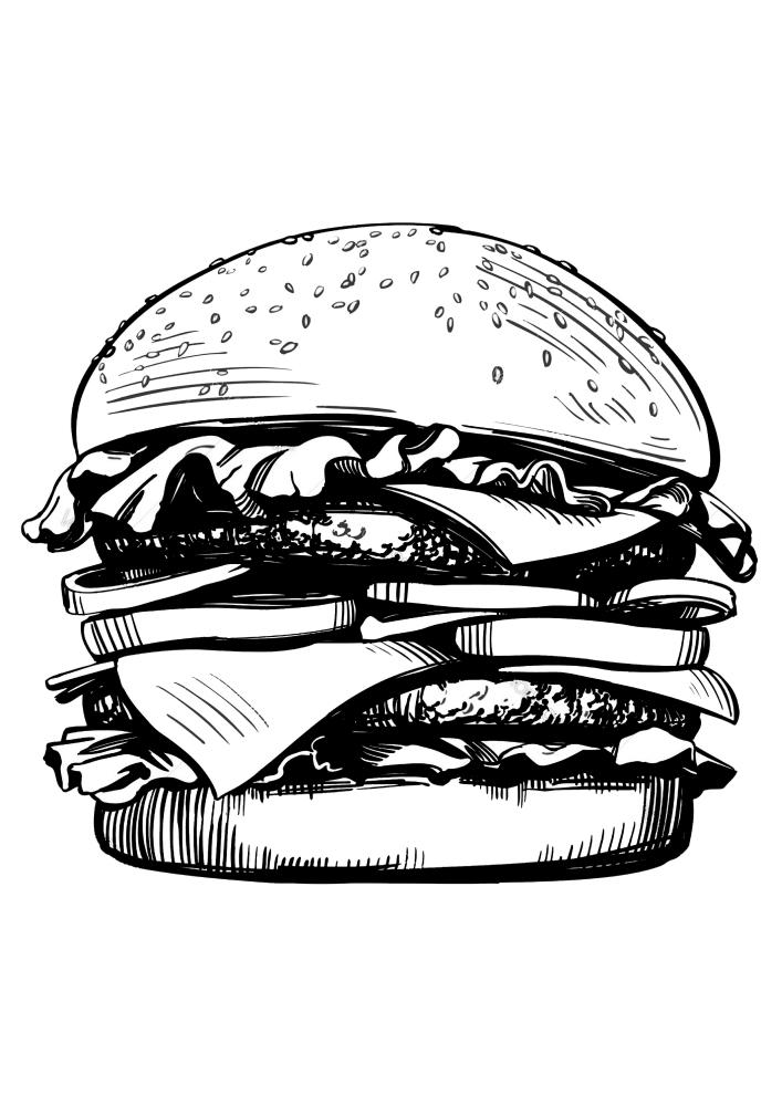 Сочный бургер - раскраска