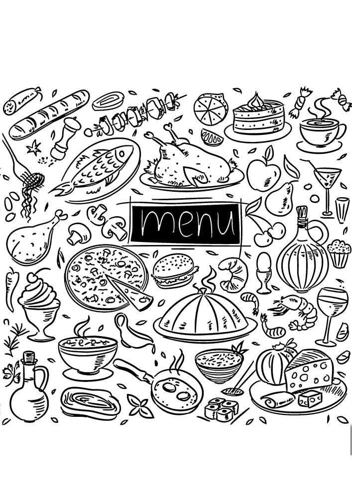 Меню, в котором множество вкусных блюд