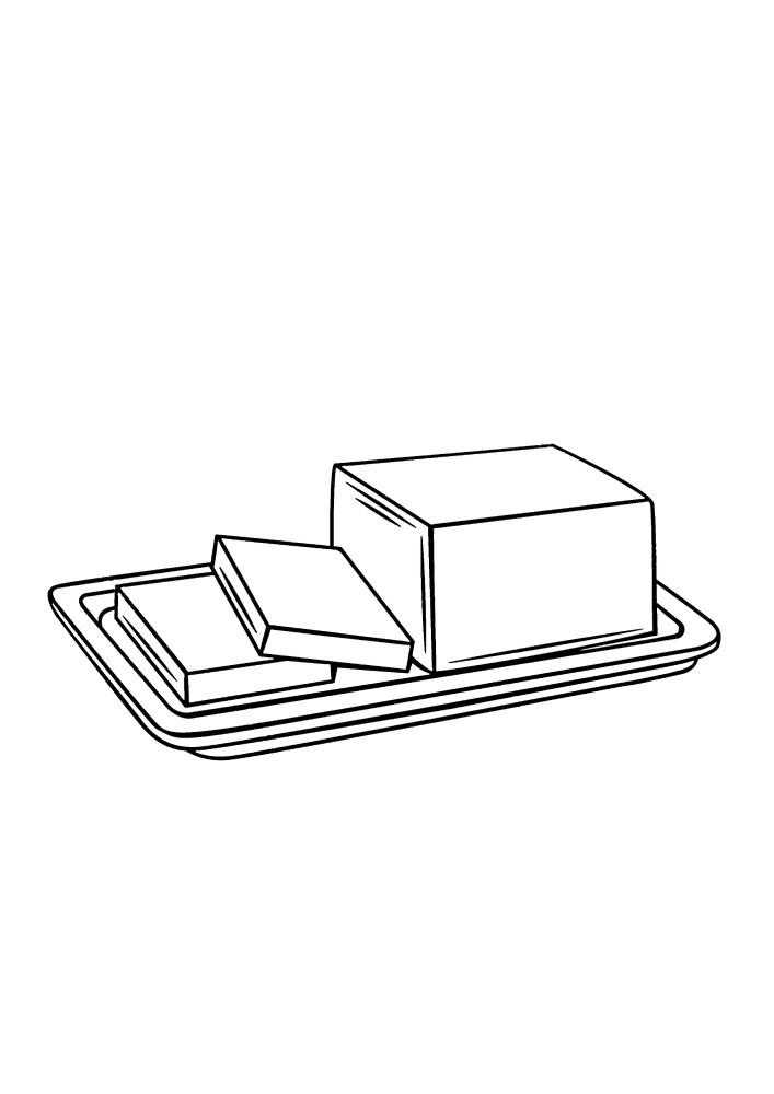 Масло, нарезанное кусками - раскраска