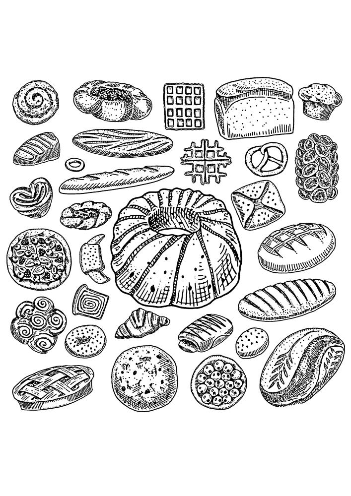 Десятки изображений с хлебными изделиями в одной картинке.