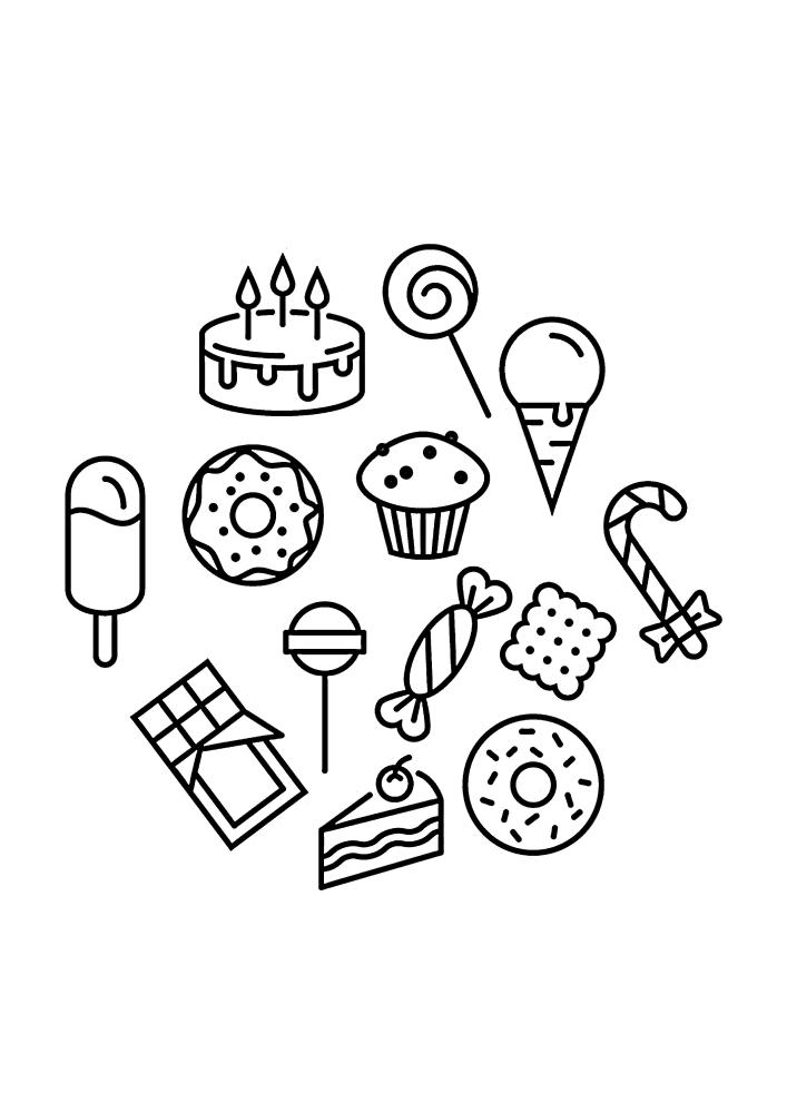 Маленькие чёрно-белые изображения сладости для детей