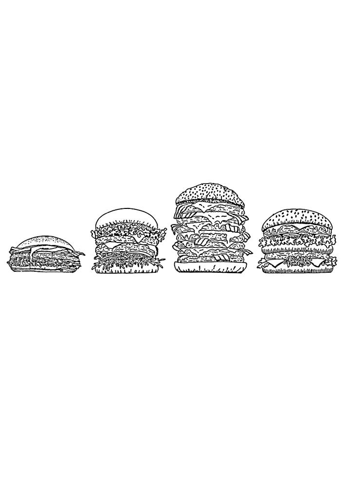 4 бургера разной толщины