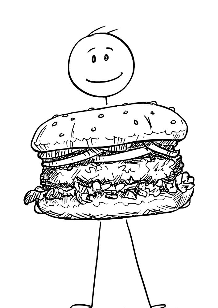 Человек в костюме гамбургера