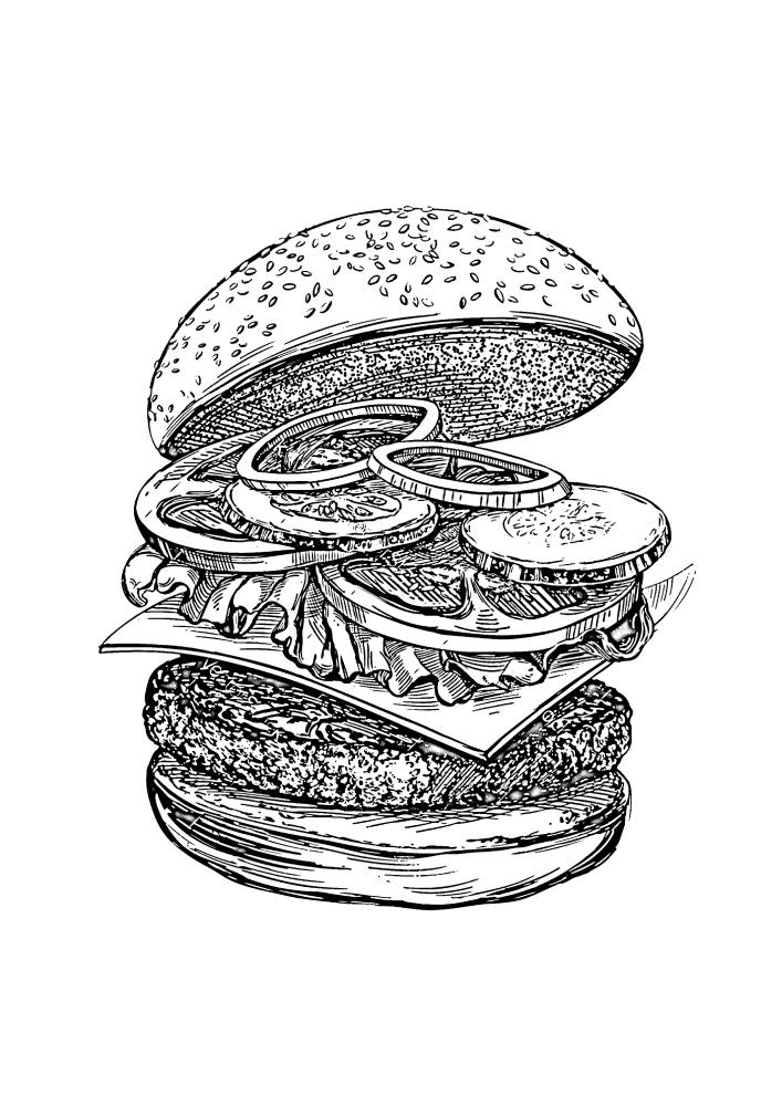 Из чего состоит вкусный и сочный бургер - раскраска по частям.