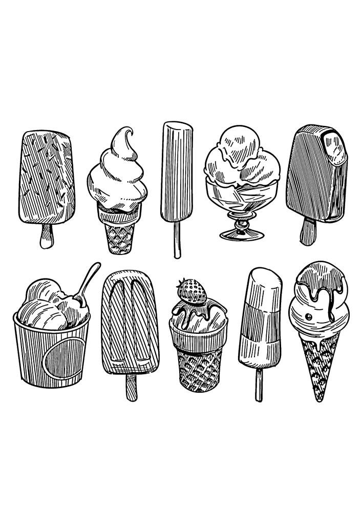 Раскраски мороженого - 10 разных изображений для разных цветов