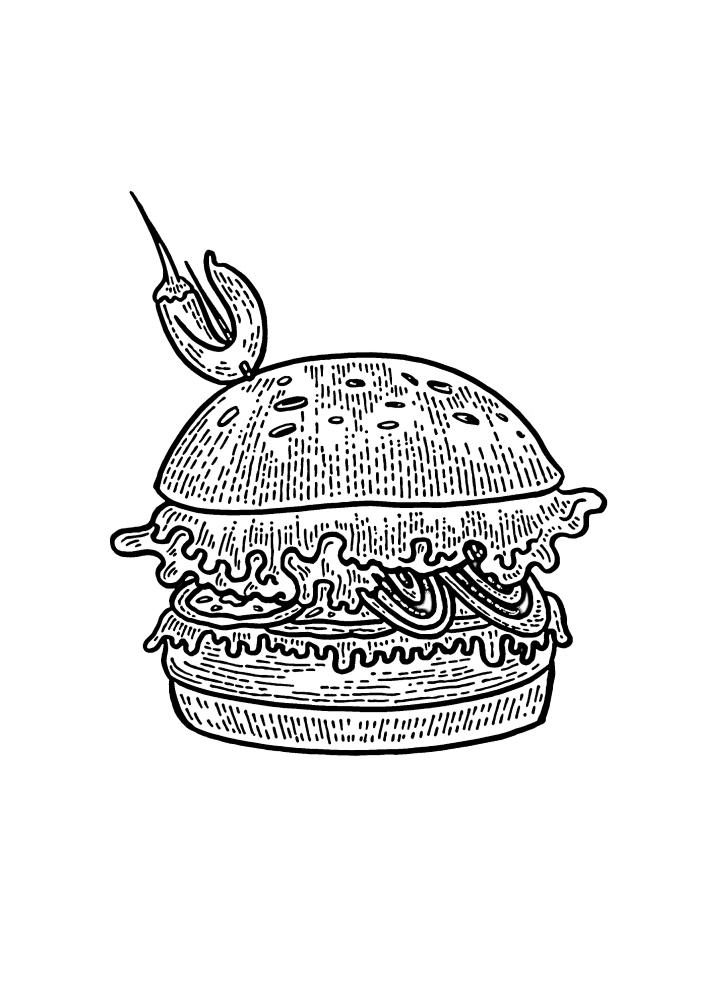 Бургер, готовый к подаче для гостей.