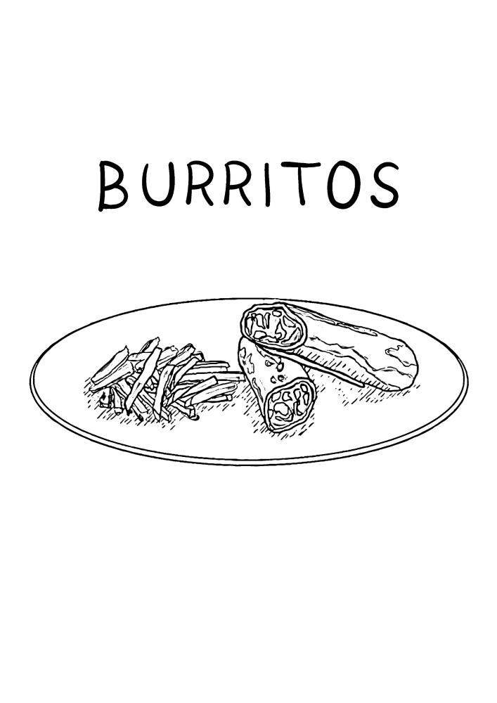 Буррито - раскраска