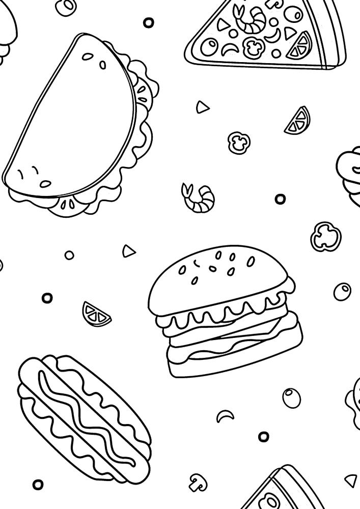 Расслабляющая раскраска с разной едой