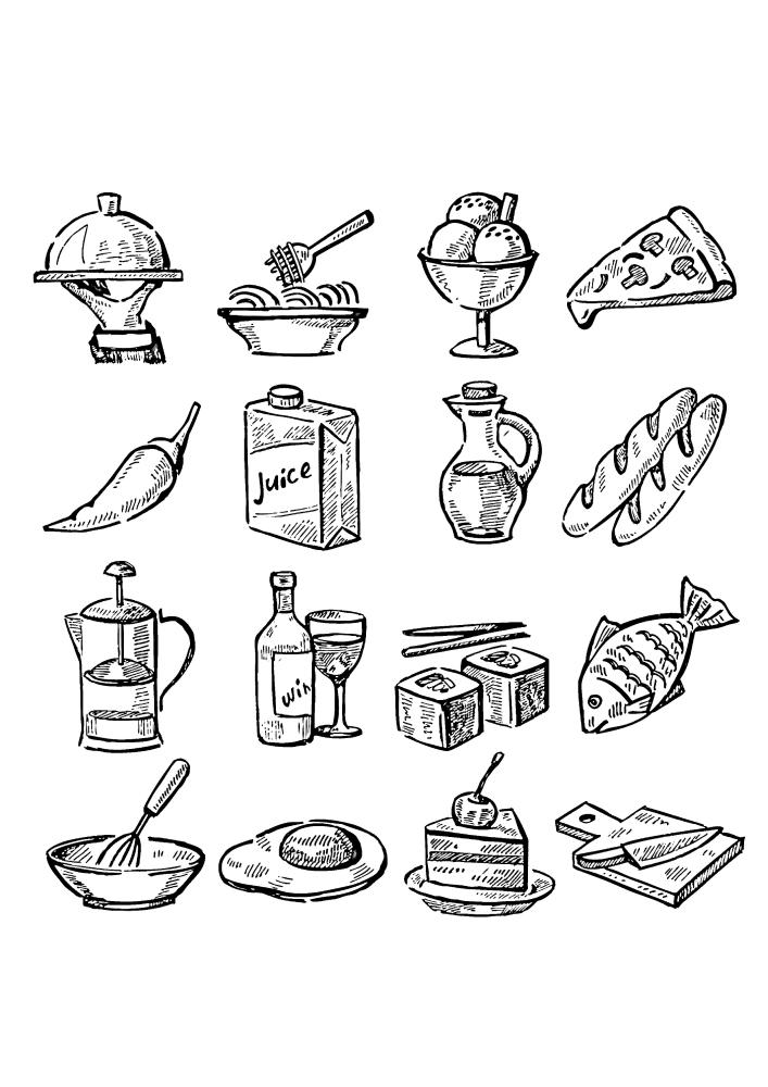 16 изображений с едой в одной картинке