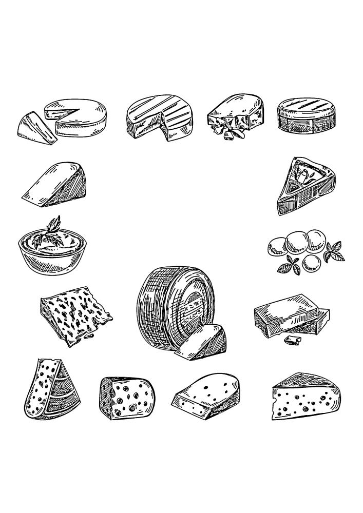 Виды сыров - раскраска