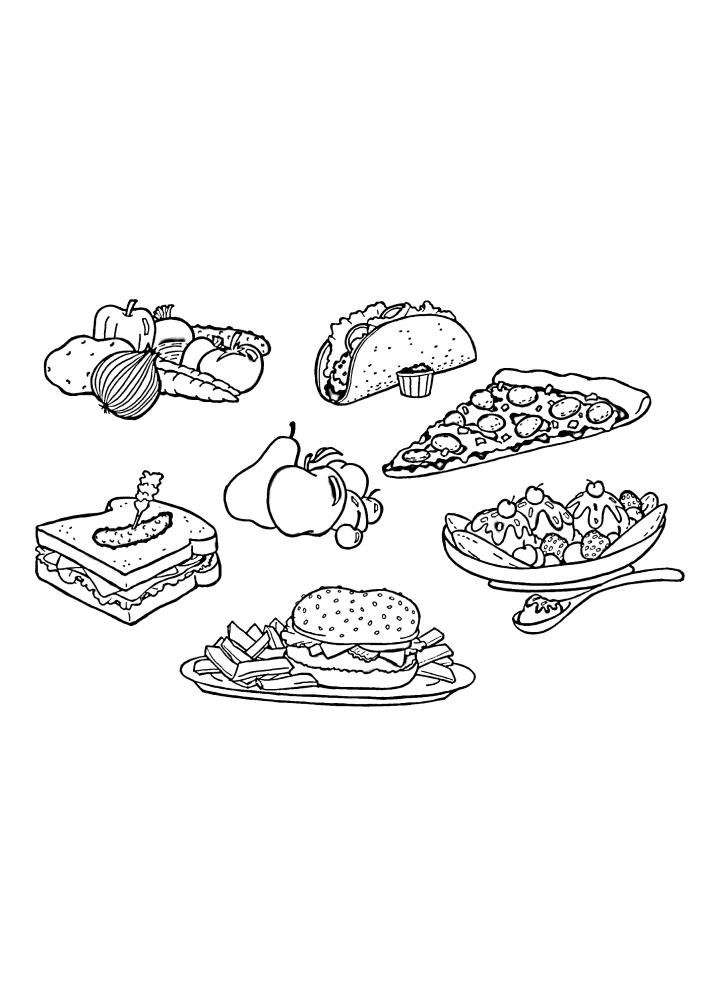 Фастфуд и полезная еда в одной раскраске