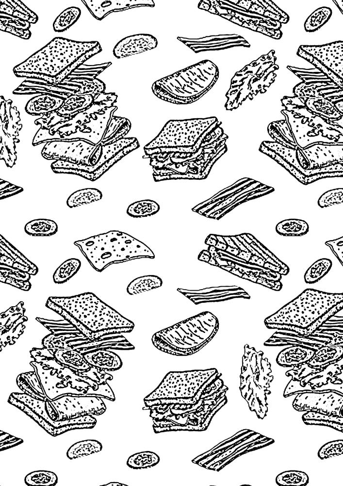 Куча продуктов для фастфуда в одной картинке