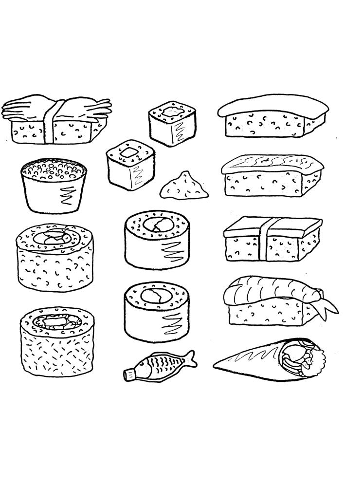 Суши и роллы - раскраска