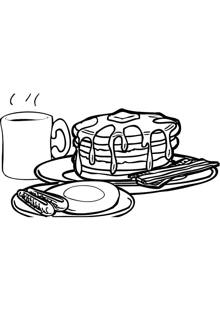Завтрак - раскраска