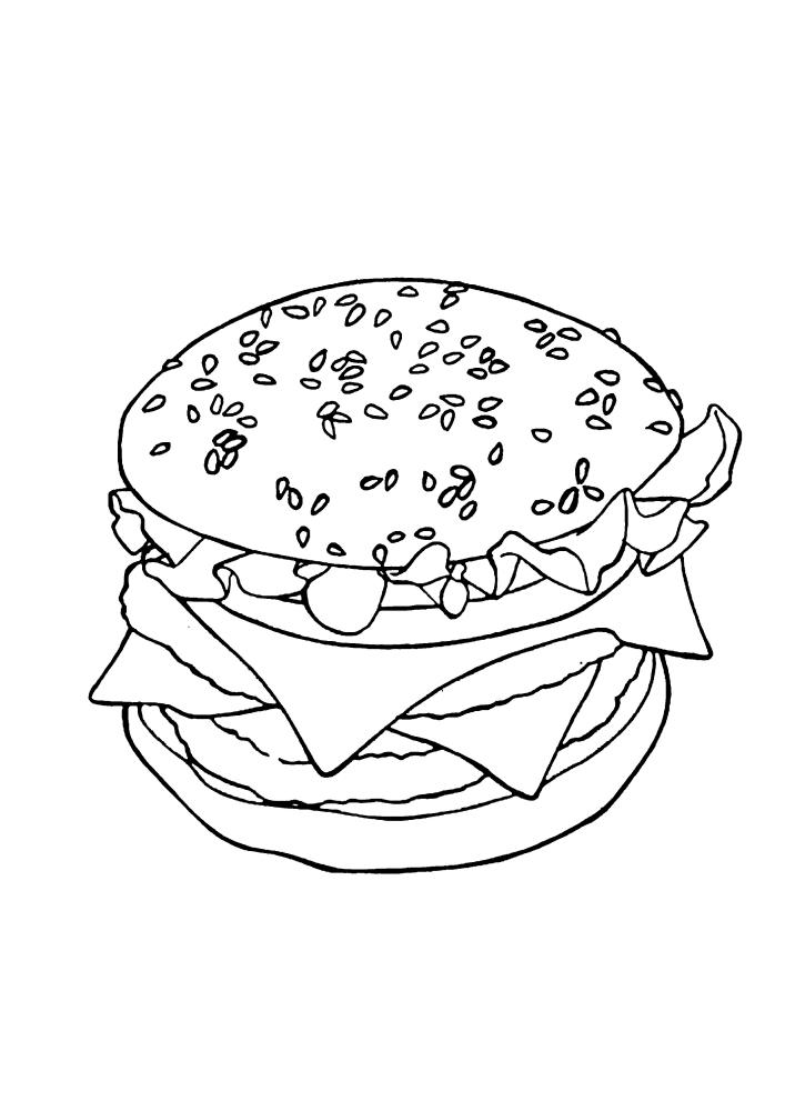Гамбургер - раскраска