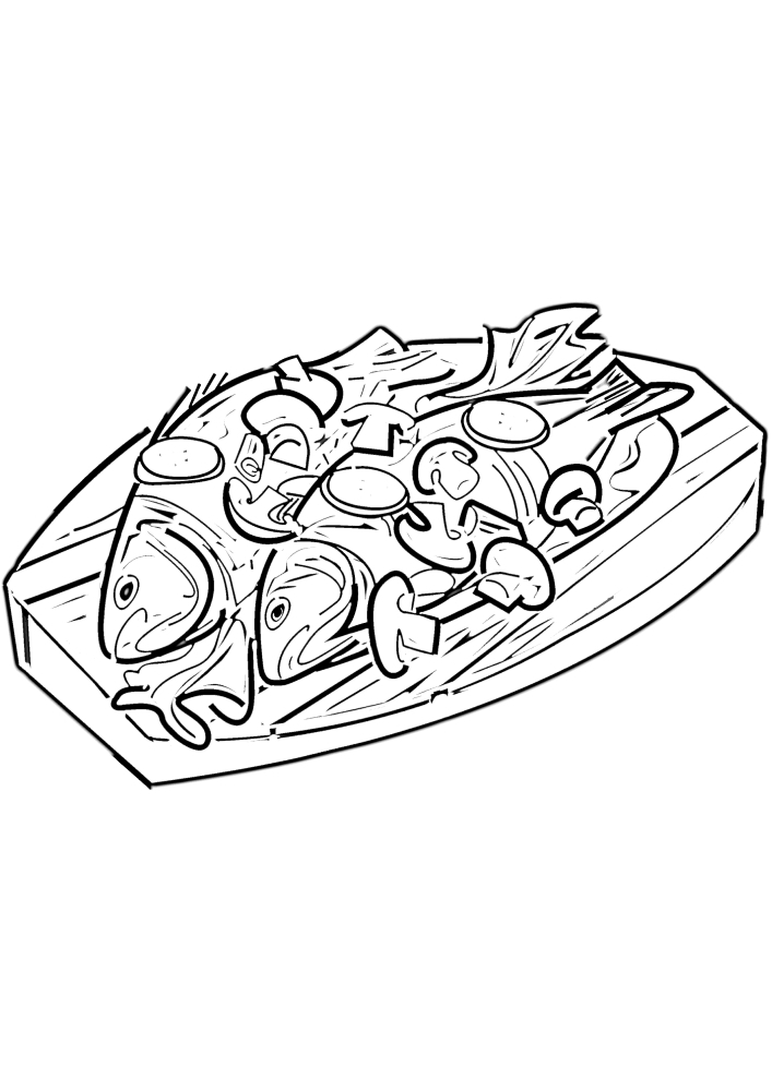 Рыба в соусе - раскраска