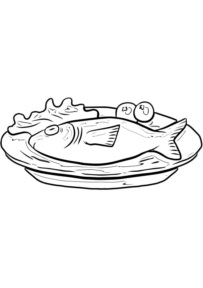 Блюдо из рыбы - чёрно-белое изображение для детей.