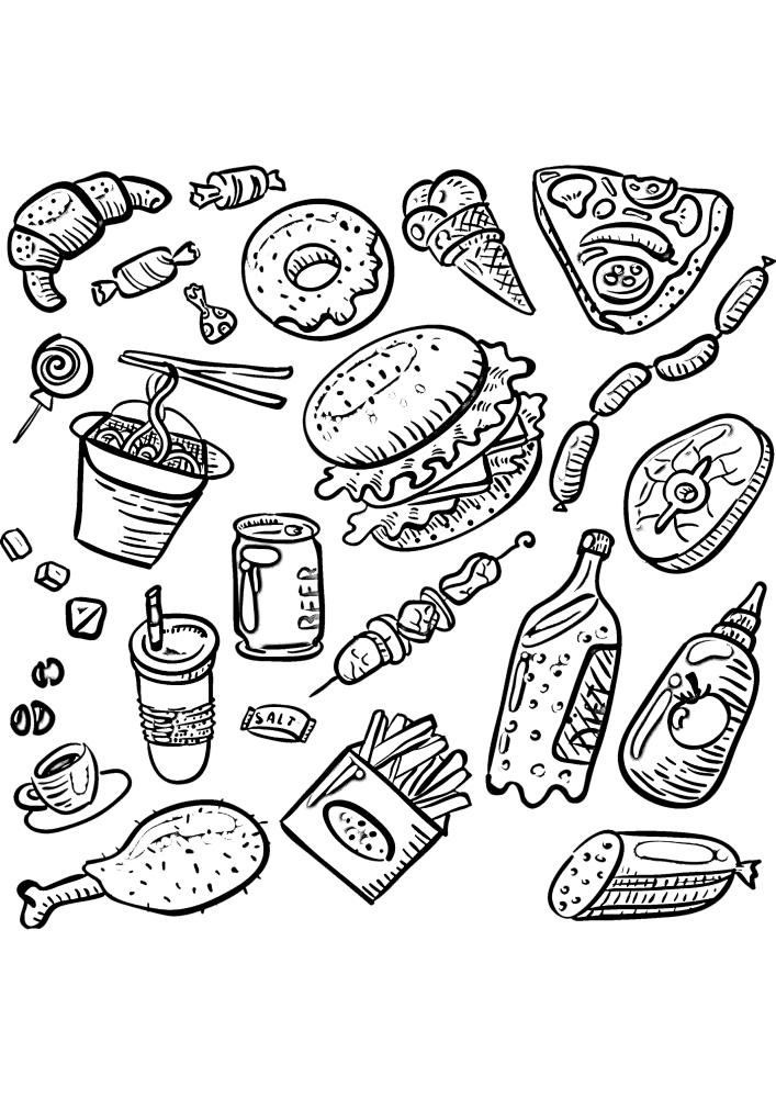 Вкусная еда, которая нравится всем, но к сожалению она не вся полезная