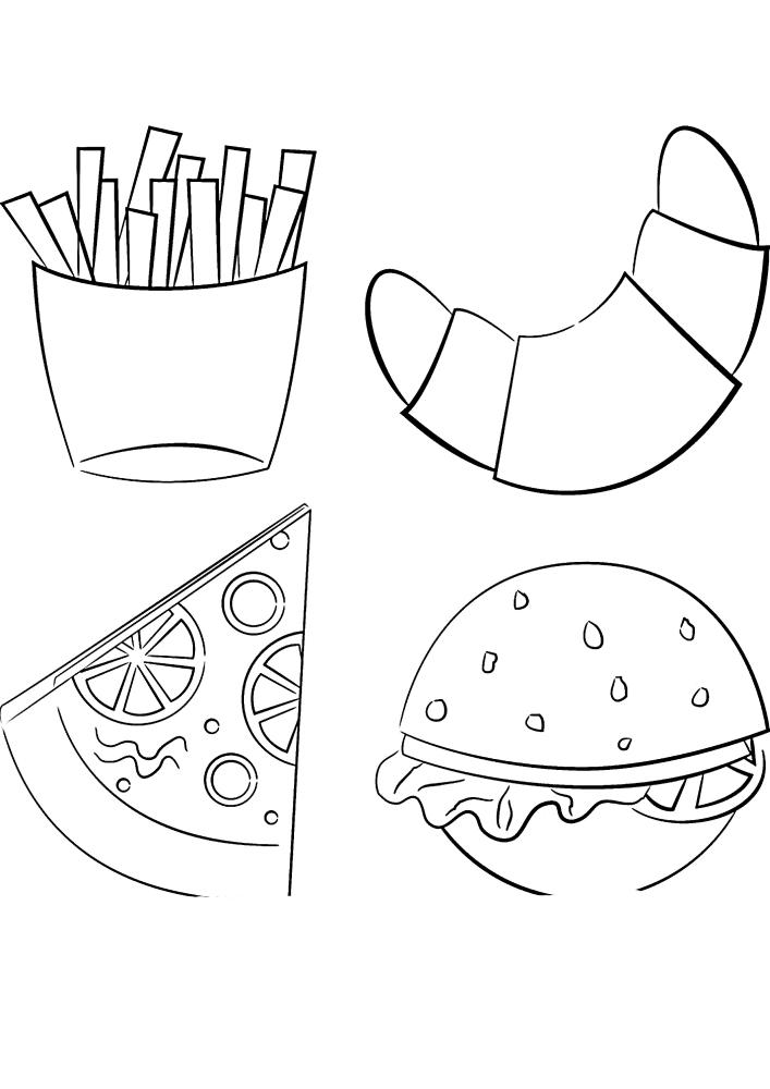 Круассан, пицца, картошка фри и бургер - раскраска